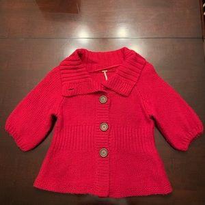 Free People Red Cardigan Sweater